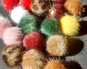 Pompom earrings, pom-poms, leopard print earrings, fluffy earrings, fuzzy ball earrings