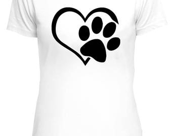 Dog Paw In Heart T-shirt, dog lovers, dog owners, dog Owner Tee, heart, love dogs tee