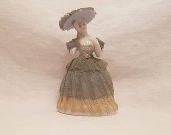 WOMAN PORCELAIN FIGURINE Lace Blue White Victorian Lady Japan Vintage Antique