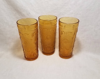 AMBER AMERICAN CONCORD Tumblers by Brockway Glass Juice Drink Water Ice Tea Scrolls Starburst Collect Vintage Retro