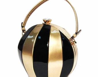 Gold Black Beach Ball Top Handle Frame Shoulder Bag