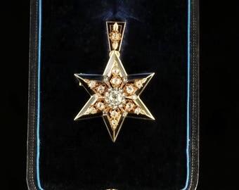 Antique Victorian Diamond Star Pendant Brooch Original Box Circa 1900