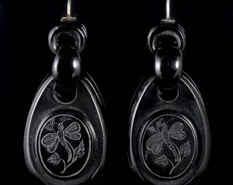 Antique Victorian Whitby Jet Dragonfly Drop Earrings Circa 1860