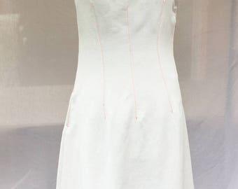 Neon Orange stitching - Off white linen dress white linen dress