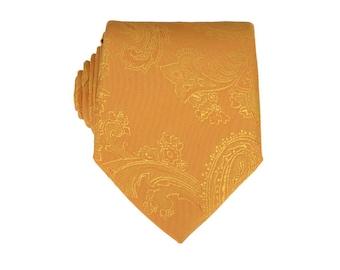 Gold Paisley Tie.Gold Silk Tie.Gold Tie for Men.Wedding Neckties.Groomsmen Tie.Silk Skinny Tie.