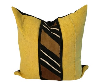 Earth Tone Mud Cloth Pillow, Yellow Mud Cloth Pillow, Authentic Mudcloth Pillow Cover, Bogolan Pillow, African Fabric Pillow