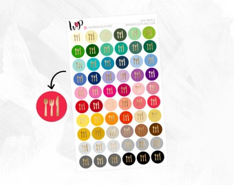 Foil Meal Icons | Matte Glossy Foiled Planner Stickers