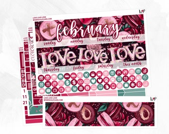 Love Love Love February Monthly Kit | Matte Glossy Planner Stickers