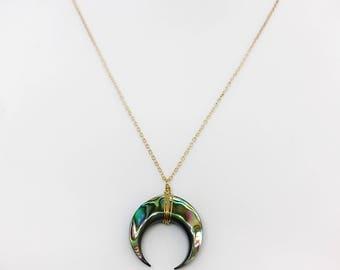 Abalone Crescent Horn Necklace, Abalone Crescent, Horn Necklace, Crescent Necklace, Abalone Horn Choker, Abalone Choker