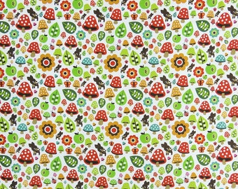"""Dress Material, White Fabric, Mushroom Print, Designer Fabric, Quilting Fabric, 46"""" Inch Cotton Fabric By The Yard ZBC8574A"""