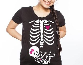 Skelly Baby Girl Maternity Skeleton T-shirt
