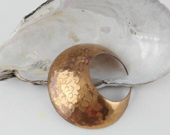 Copper Tone Moon Brooch