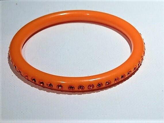 Vintage Rhinestone Bangle Mid Century 1950s Lucite Bangle Bracelet Tangerine Orange Early Plastic Fashion Jewelry Stack Stackable