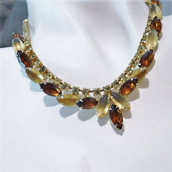 Mid Century Rhinestone Necklace / Rhinestone Bib Choker Necklace / 1960s Fashion Jewelry / Autumn Fall Wedding Necklace