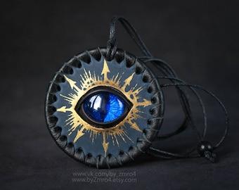Warhammer 40000 Thousand Sons Legion Handmade Leather Patch, Chaos Star, Tzeentch, Warhammer 40k Patch, Chaos Pendant, Pendant with Eye