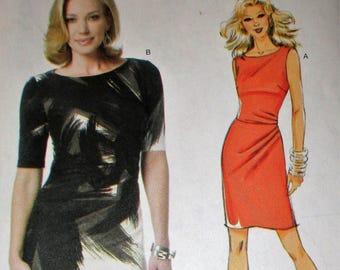 Butterick pattern, B5672, misses close fitting, lined dress, left front dart/pleat, sleeveless/short sleeve dress, sz: 8, 10, 12, 14, 16