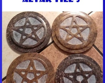 "3"" Soapstone Pentacle Altar Tiles"