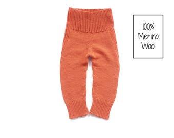 Knit baby pants - Wool longies - Baby leggings - Merino wool pants - Knit longies - Newborn longies - Diaper cover - Toddler pants - Green