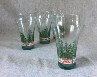 Vintage Libbey Coca Cola Christmas Glasses, Set of 4
