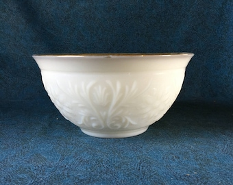 Vintage Sandwich Milk Glass Punch Bowl with Gold Trim, Anchor Hocking, Wedding Punch Bowl