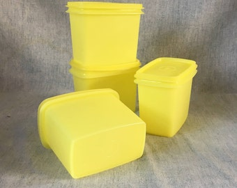 Vintage Yellow Tupperware Stackable Storage Containers, Set of 4