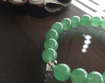 Green Aventurine and Herkimer Diamond Bracelet, Green Aventurine Bracelet