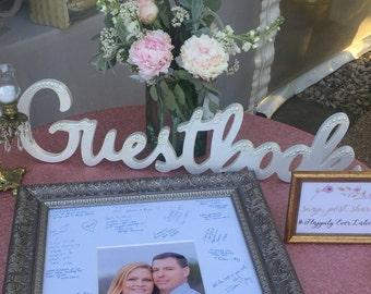 Wedding Guestbook Sign - White with Pearls