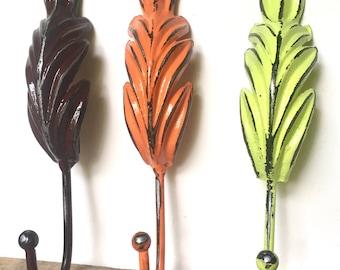 Entryway Wall Hooks - Rustic Farmhouse Wall Decor - Bohemian Home Decor Ideas - Shabby Chic Coat Hooks - Wall Key Holder - Large Towel Hooks
