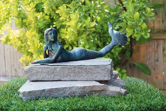 Mermaid lounging Cast Iron nautical ocean mythical creatures Mythological statue Beach Decor sea theme