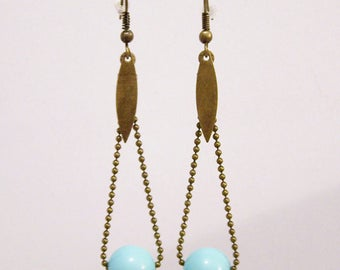 Earrings ball chain and Pearl blue celadon
