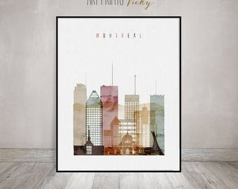 Montreal print, watercolor poster, Wall art, Montreal Canada skyline, cityscape, travel poster, watercolor print, Home decor ArtPrintsVicky.