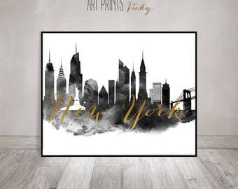 Black and white wall art New York print, travel poster, New York skyline, Wall decor, faux gold, ArtPrintsVicky.