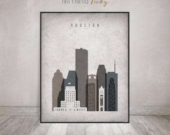 Houston print, Houston Poster, Wall art, Houston skyline, Texas, housewarming gift, travel decor, Vintage style, Home Decor, ArtPrintsVicky