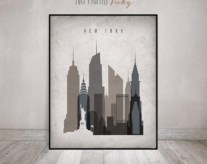 New York print, Poster, Wall art, Vintage style New York skyline, City poster, Typography art, Home Decor, Digital Print, ArtPrintsVicky