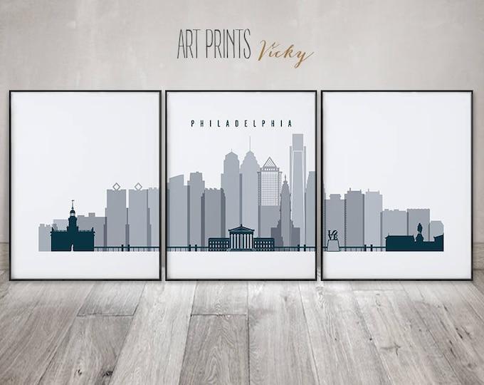 Set of 3 prints Philadelphia, Philadelphia skyline, 3 pieces wall art, wall art, large wall art, travel gift, home decor, ArtPrintsVicky