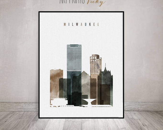 Milwaukee skyline, Milwaukee art print, Poster watercolor, Travel decor, Wall art, Wisconsin art, City print, Gift Home Decor ArtPrintsVicky