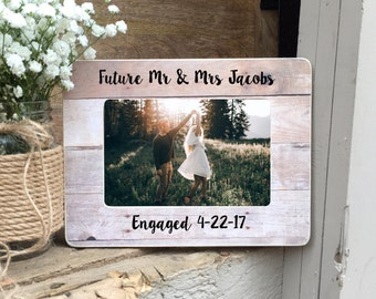 ON SALE Engaged Picture Frame  Gift Engagement Recently Engaged Gift  Personalized Custom Picture Frame Recently Engaged Couple