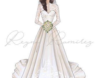 Custom Bridal Illustration, custom fashion illustration, bridal illustration, custom blogger illustration