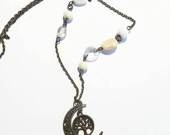 Fantastic medieval Necklace: tree of life and moon