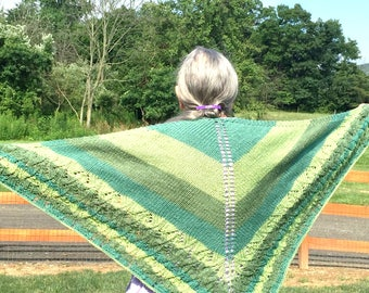 Hand knit shawl, knit scarf, Gift for her, Shoulder wrap, hand knitted items, knitting scarf, shrug with stripes, triangle scarf, knit shrug