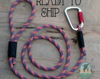 READY to SHIP! 6FT Independence Slip Lead || Rock Climbing Rope Dog Leash || Handmade in the USA