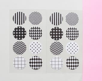 32 circle stickers, Washi stickers, sticker seals, 90s pattern, sticker gift wrap