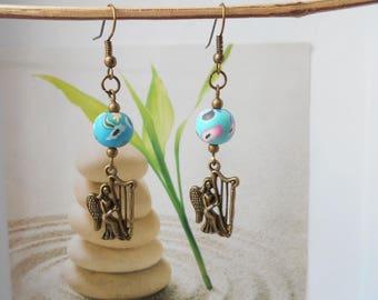 bronze Pearl polymer clay flower charm earrings