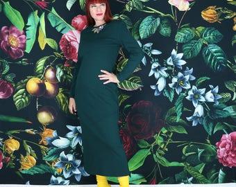 1980s Dress - Teal Midi Shift Dress - Medium - Body Skimming Midi Dress - Green - Long Sleeve - Wool - Winter Fall Vintage Dress - Classic