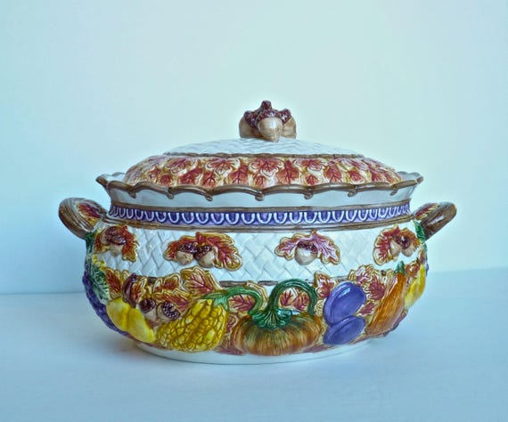 FITZ AND FLOYD ~ Discontinued Omnibus Harvest Time Soup/Stew Tureen ~ Gorgeous Ceramic Autumn Colors ~ Perfect Thanksgiving Serving Dish