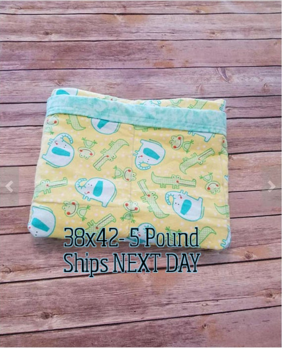 Elephant, Aligator, 5 Pound, WEIGHTED BLANKET, Ready To Ship, 5 pounds, 38x42 for Autism, Sensory, ADHD