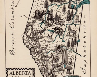 1940's Vintage ALBERTA Canada Picture Map Pictorial Map of Alberta Canada Print Travel Map Gallery Wall Art Home Decor