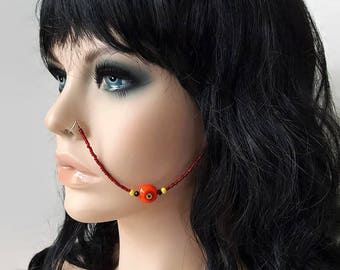 Red Tribal Beaded Nose Chain - Nose Chain - Ear To Nose Chain - Face Jewelry - Face Chain - Tribal Body Jewelry - Statement Jewelry