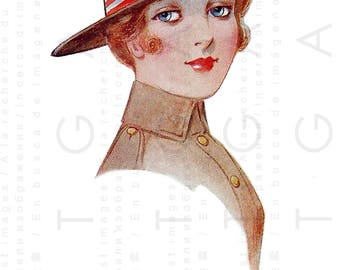 A PILGRIM From the East 4th of July Vintage Postcard. Four Of July Digital Patriotic Download. Patriotic Flapper Girl Card.