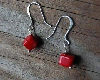 Sterling Silver Genuine Coral Cube Drop Earrings